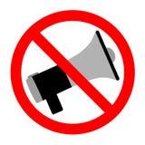 Un segno del megafono vietato su un fondo bianco Immagine Stock