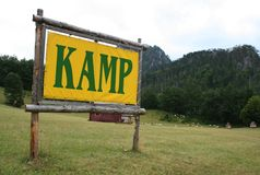 Un segno di campeggio Fotografia Stock Libera da Diritti