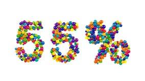 un segno di 55 per cento formato delle sfere vibranti Immagine Stock