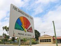 Un segno di valutazione del pericolo del fuoco indica quanto pericoloso un fuoco sarebbe se uno cominciasse È un richiamo da esse Immagine Stock Libera da Diritti