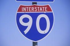 Un segno per 90 da uno stato all'altro Fotografia Stock Libera da Diritti