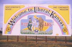 Un segno per il liberale, Kansas immagini stock libere da diritti