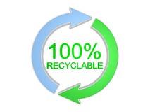 un segno riciclabile di 100 per cento. Isolato sul bianco Immagini Stock Libere da Diritti
