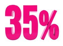 Un segno rosa di 35 per cento Fotografie Stock Libere da Diritti