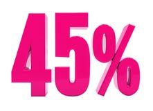 Un segno rosa di 45 per cento Immagine Stock