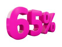 Un segno rosa di 65 per cento Fotografia Stock Libera da Diritti