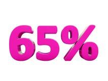 Un segno rosa di 65 per cento Fotografie Stock Libere da Diritti