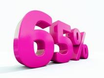 Un segno rosa di 65 per cento Immagini Stock