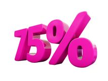 Un segno rosa di 75 per cento Fotografia Stock