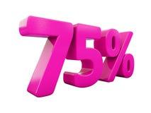 Un segno rosa di 75 per cento Immagini Stock