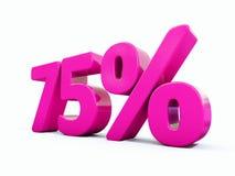 Un segno rosa di 75 per cento Immagine Stock Libera da Diritti