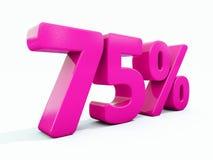 Un segno rosa di 75 per cento Immagini Stock Libere da Diritti