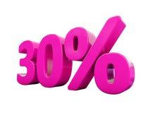 Un segno rosa di 30 per cento Immagini Stock Libere da Diritti