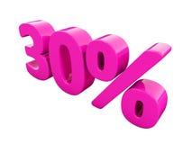 Un segno rosa di 30 per cento Fotografia Stock Libera da Diritti