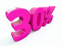 Un segno rosa di 30 per cento Immagine Stock