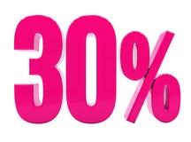 Un segno rosa di 30 per cento Fotografia Stock