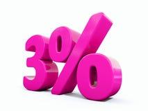 Un segno rosa di 3 per cento Illustrazione di Stock