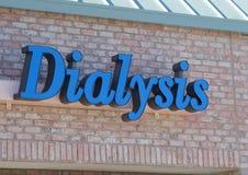 Un segno su un affare di dialisi Fotografia Stock