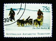 Un sello impreso en Australia muestra una imagen de los perros esquimales pasados, territorio antártico australiano en valor en e fotos de archivo libres de regalías