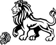 Profilo della mascotte del leone su bianco Fotografia Stock