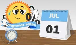 Un septiembre, ventas del verano, reloj azul y blanco y calendario ilustración del vector