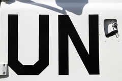 UN sign. On a United Nations peacekeeping truck Stock Images