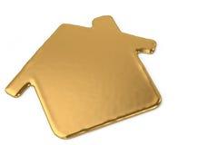 Un signe liquide de symbole de maison en métal d'or illustration 3D Photographie stock libre de droits