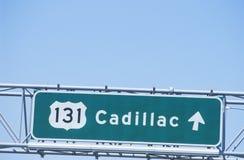 Un signe qui lit le ½ de ¿ de Cadillacï du ½ 131 de ¿ d'ï Photographie stock libre de droits