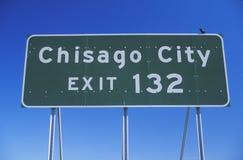 Un signe qui lit le ½ de ¿ de la sortie 132ï de ville de Chisago de ½ de ¿ d'ï Photos libres de droits