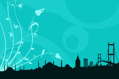 Un silhoutte de Estambul Foto de archivo libre de regalías