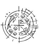 Un simbolo cristiano di cinque pani e di due pesci illustrazione di stock