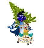 Un simbolo del A. del drago-Nuovo anno blu scuro. di 2012 Fotografia Stock Libera da Diritti
