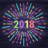 un simbolo di 2018 neon Immagini Stock