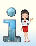 Un simbolo di numero uno accanto ad una donna di affari graziosa Fotografia Stock Libera da Diritti