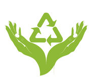 Un simbolo di riciclaggio in mani femminili. Vettore. Fotografia Stock