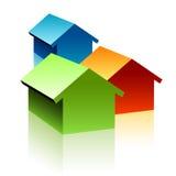 Un simbolo di tre case Fotografia Stock