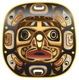 Un simbolo largo della mascherina della luna dell'nativo americano, su bianco. Immagine Stock
