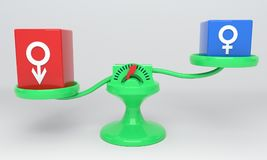 Un simbolo maschio e le scale femminili di un simbolo, 3d illustrazione vettoriale