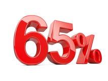 Un simbolo rosso delle sessantacinque percentuali tasso percentuale di 65% Offe speciale illustrazione di stock