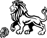 Perfil de la mascota del león en blanco Foto de archivo