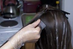 Un singolo imprenditore fornisce i servizi a casa Il parrucchiere dipinge i capelli di una donna Immagine Stock