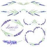 Un sistema con las fronteras del marco, los ornamentos decorativos florales con la lavanda de la acuarela florece para la boda o