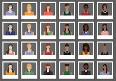 Un sistema de avatares de las mujeres, estilizado como fotos Foto de archivo libre de regalías