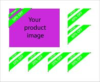 Un sistema de banderas de la esquina de la cinta del color verde con la información sobre el porcentaje de descuentos stock de ilustración