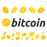 Un sistema de bitcoins Diversas actitudes de bitcoins Algún bitcoin en vuelo El bitcoin de Cryptocurrency, el mercado de acción y Fotografía de archivo libre de regalías