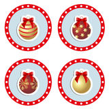 Un sistema de bolas de la Navidad del icono del color Imagenes de archivo