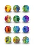 Un sistema de bolas multicoloras en diseño y sombra del garabato Fotos de archivo libres de regalías