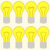 Un sistema de bombillas con palabras en el filamento Imagen de archivo
