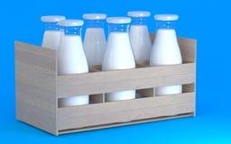 Un sistema de botellas de leche Imagen de archivo libre de regalías