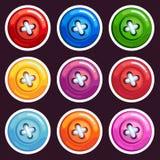 Un sistema de botones coloreados de la historieta Imagen de archivo